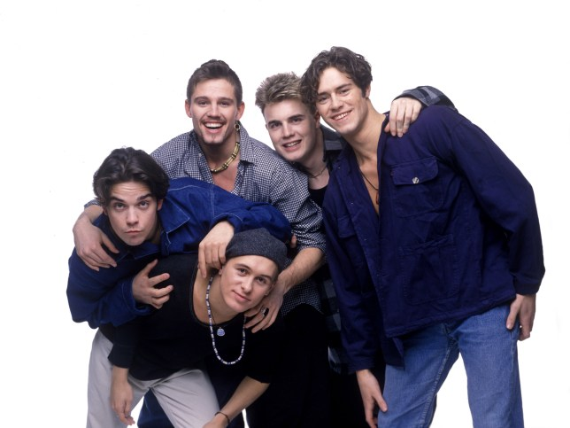 Mark Owen, Robbie Williams, Jason Orange, Gary Barlow and Howard Donald of Take That