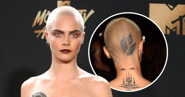 Cara Delevingne walked the MTV Movie And TV Awards 2017 red carpet with a new head tattoo (Picture: Reuters/FilmMagic)