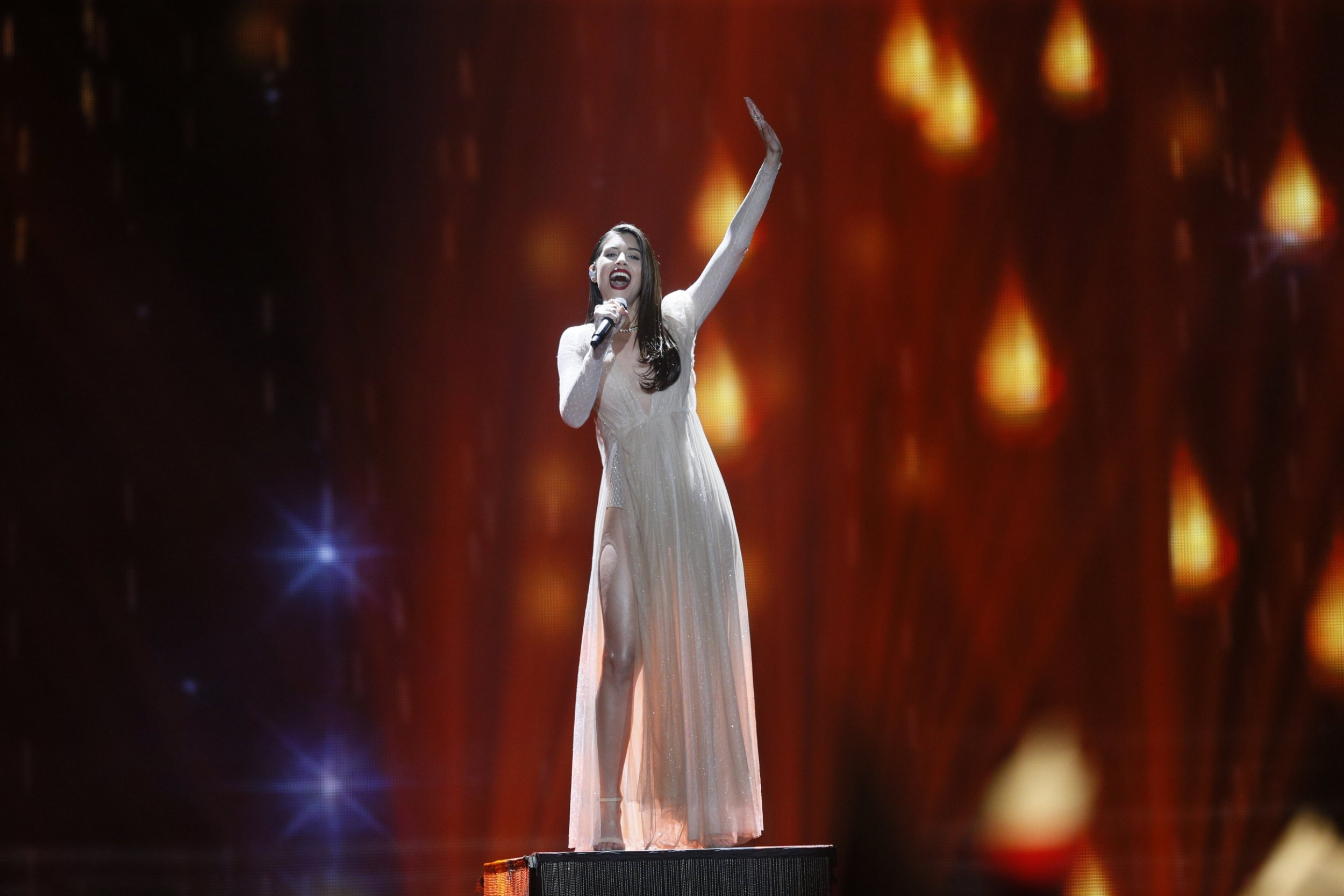 epa05953690 Demy from Greece performs with the song 'This is Love' during the First Semi Final of the 62nd annual Eurovision Song Contest (ESC) at the International Exhibition Centre in Kiev, Ukraine, 09 May 2017. The ESC 2017 Grand Final is held on 13 May.  EPA/SERGEY DOLZHENKO