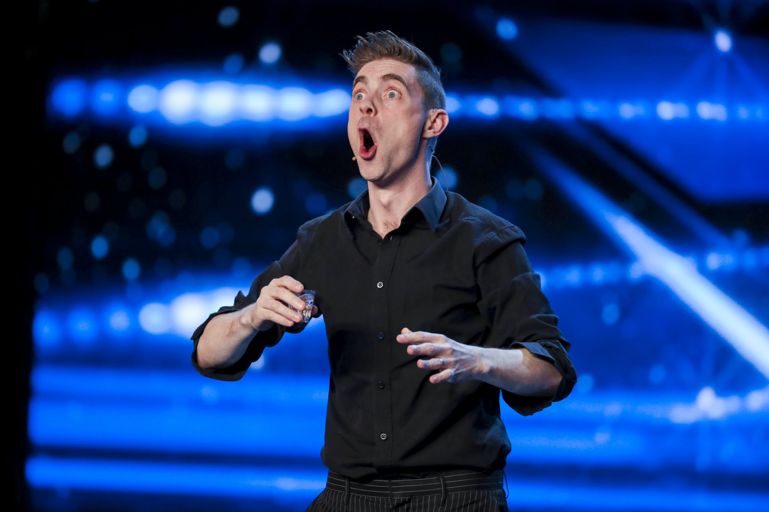 **STRICTLY NO WEB UNTIL 00:01 BST SAT MAY 13TH** Britain's Got Talent judges and performers are seen on the show airing Saturday May 13th. Pictured is Matt Edwards.