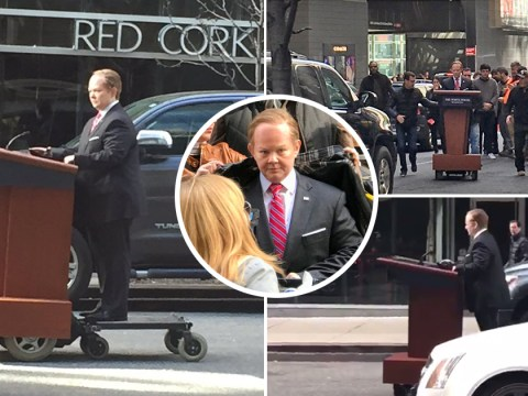 Melissa McCarthy spotted driving podium through streets of New York as Sean Spicer for Saturday Night Live
