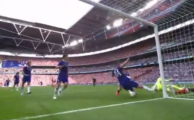 Cahill made two excellent clearances as Chelsea were put under pressure in the first half (Picture: Fox/Screengrab)