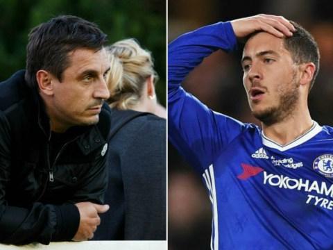 Gary Neville tells Eden Hazard he can do 'a lot better' during Chelsea celebrations