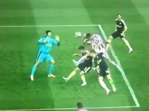 Peter Crouch gets away with blatant handball goal against Arsenal