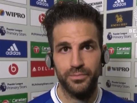 Chelsea's Cesc Fabregas has assist taken off him live on air – video