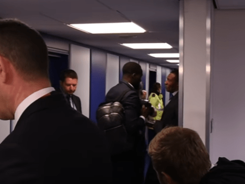 Everton striker Romelu Lukaku spotted embracing Chelsea transfer chief Michael Emenalo after Goodison Park defeat