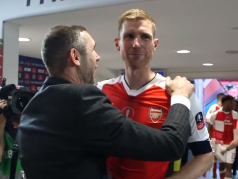 Per Mertesacker reluctantly hugs Arsenal legend who doubted him as he slams critics
