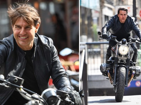 Tom Cruise nails daring Mission Impossible 6 motorbike stunt after stealing a kiss from 'charming' co-star Vanessa Kirby