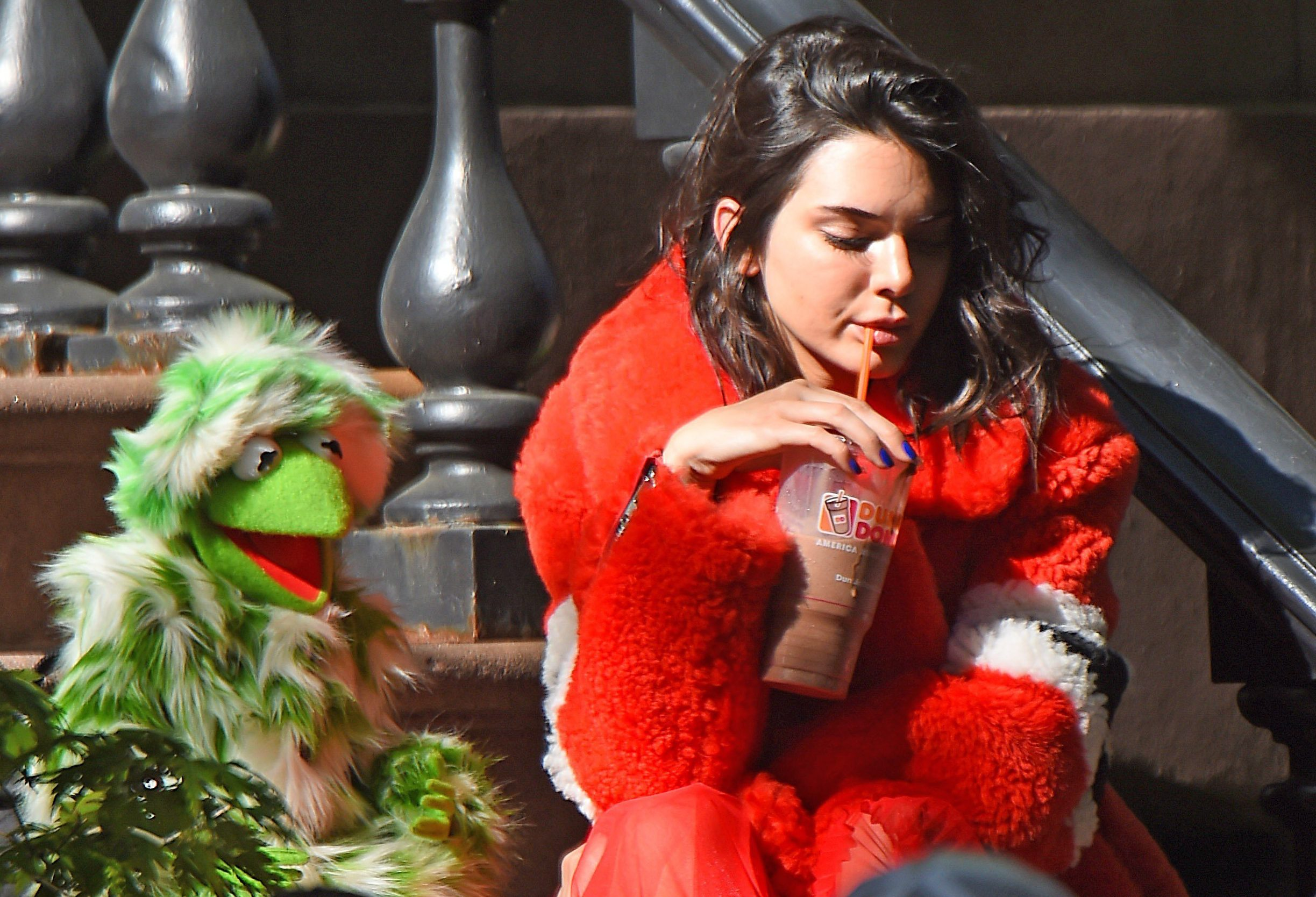 Kendall Jenner teams up with Kermit the Frog following the Met Gala 2017 for special shoot