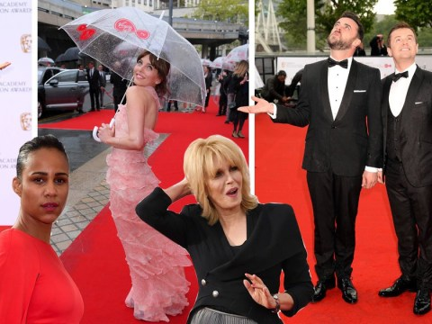 Rain-soaked celebs bring a smile to the TV Baftas red carpet