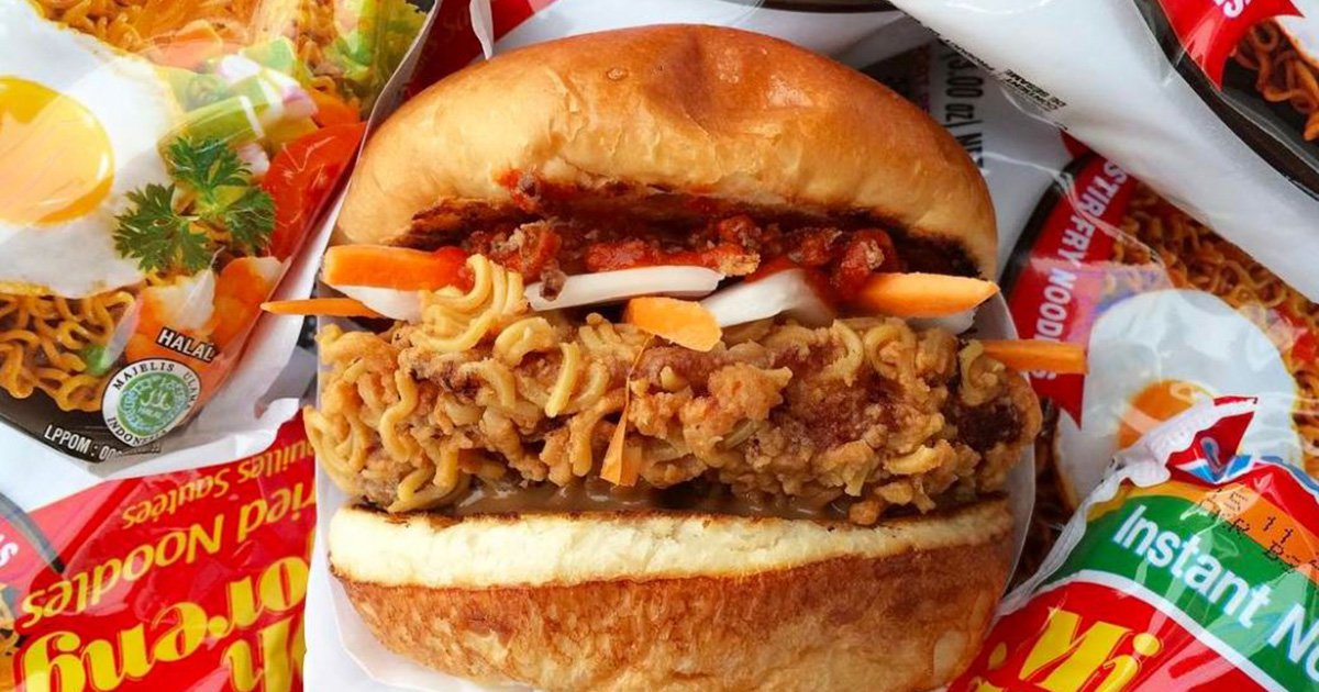 Love ramen and fried chicken? This burger is for you