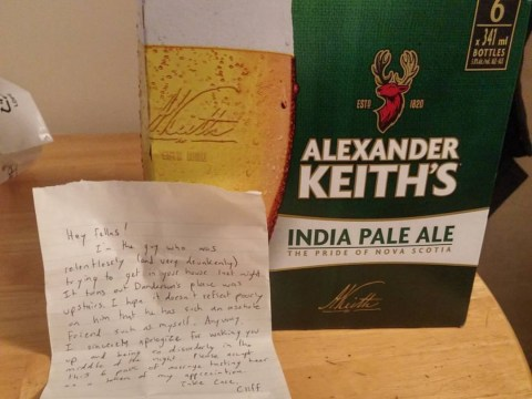 Guy leaves apology beers and note to say sorry for trying to break into home