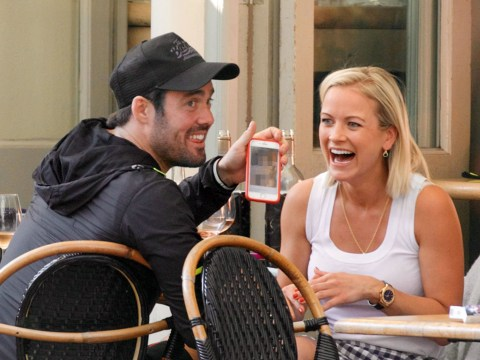 Spencer Matthews giggles with friend after showing off 'd**k pic' in public