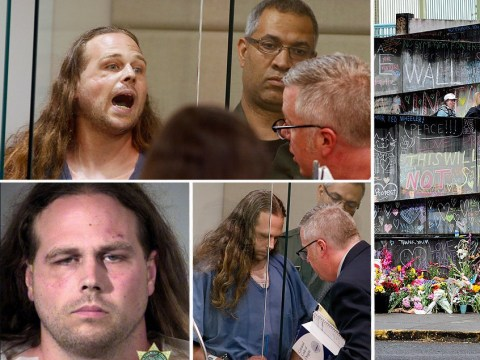 White supremacist accused of Portland train murders shouts 'death to the enemies of America' in court