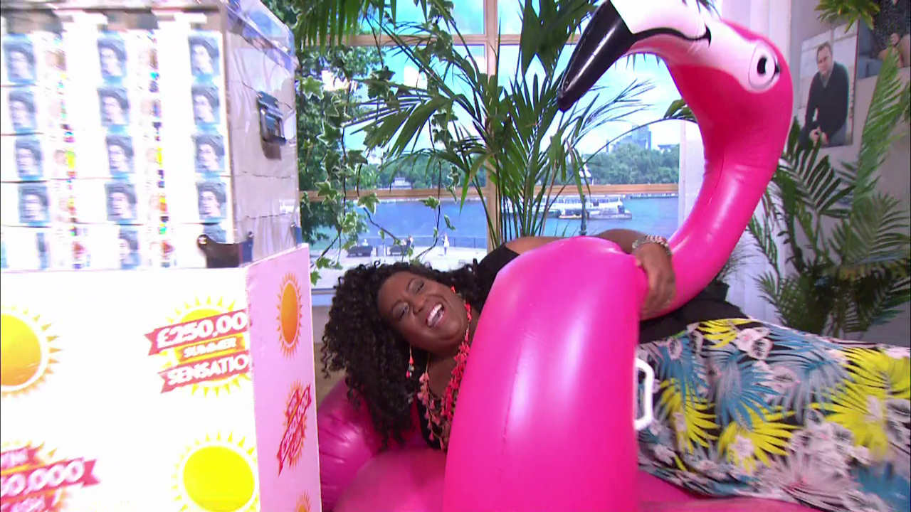 Alison Hammond throws This Morning into chaos as she trips over a giant pink flamingo