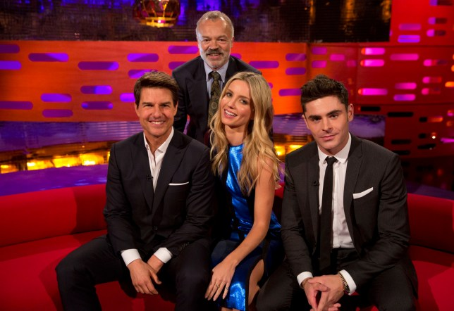(left to right) Tom Cruise, Graham Norton, Annabelle Wallis and Zac Efron during the filming of the Graham Norton Show at the London Studios, to be aired on BBC One on Friday evening. PRESS ASSOCIATION Photo. Picture date: Thursday June 1, 2017. Photo credit should read: PA Images on behalf of So TV.