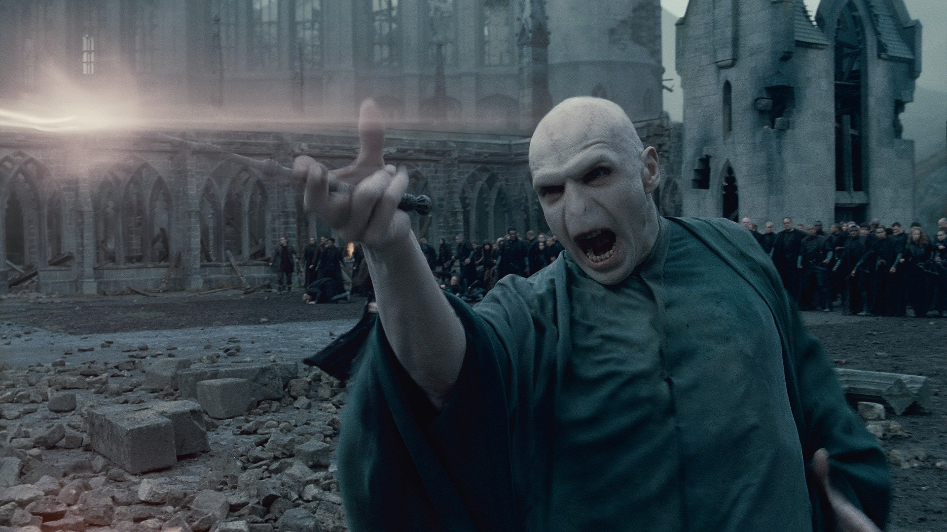 """Film: Harry Potter and the Deathly Hallows Part 2 (2011), Starring Ralph Fiennes as Lord Voldemort. In this film publicity image released by Warner Bros. Pictures, Ralph Fiennes portrays Lord Voldemort in a scene from """"Harry Potter and the Deathly Hallows: Part 2."""" (AP Photo/Warner Bros. Pictures)"""