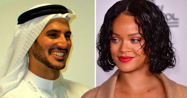 rihanna next to an image of her boyfriend hassan jameel