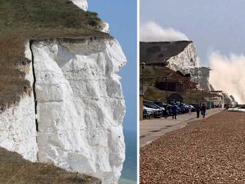 Fears cliff may collapse a third time after giant crack appears in coastline