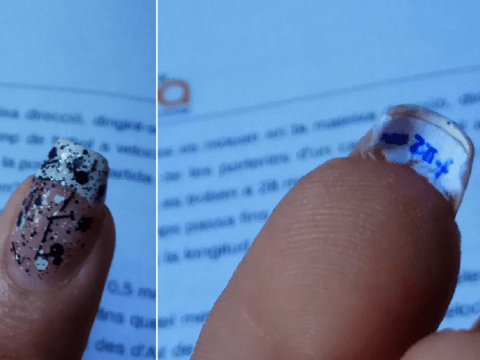 Kid hides test answers under his nails because let's face it, revision is dull