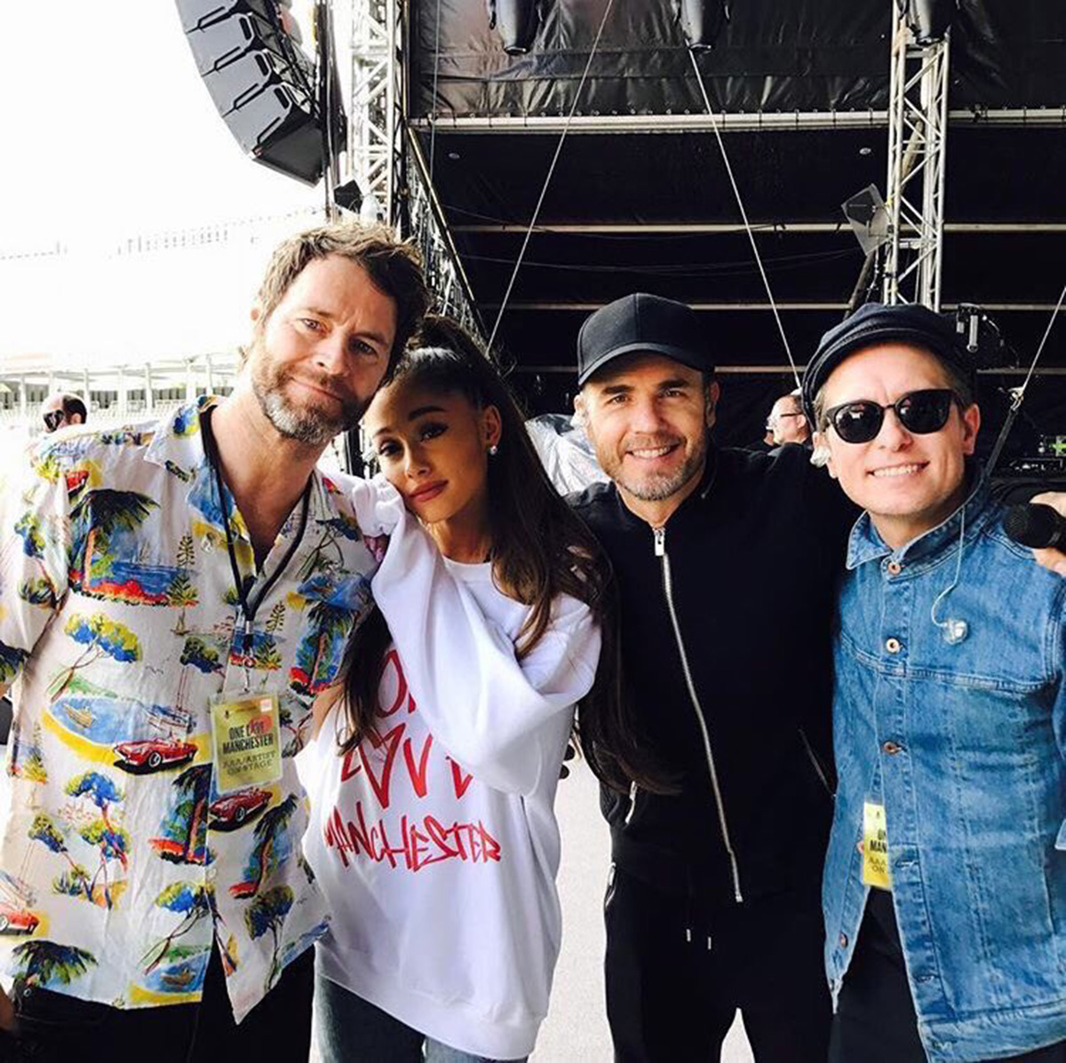 Ariana Grande and Take That join forces during One Love Manchester sound check