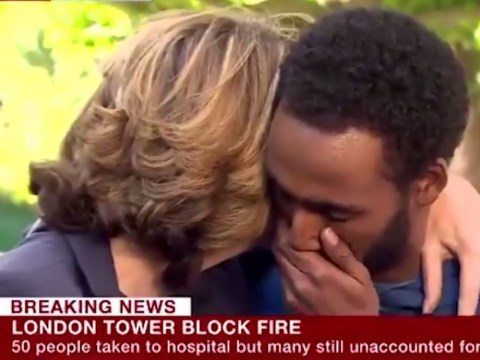 Victoria Derbyshire comforts man as he breaks down after Grenfell Tower fire