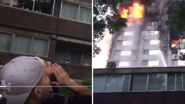 Neighbours shout to a man still visible in Grenfell tower window