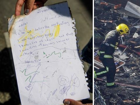Heartbreaking note found in debris of Grenfell Tower
