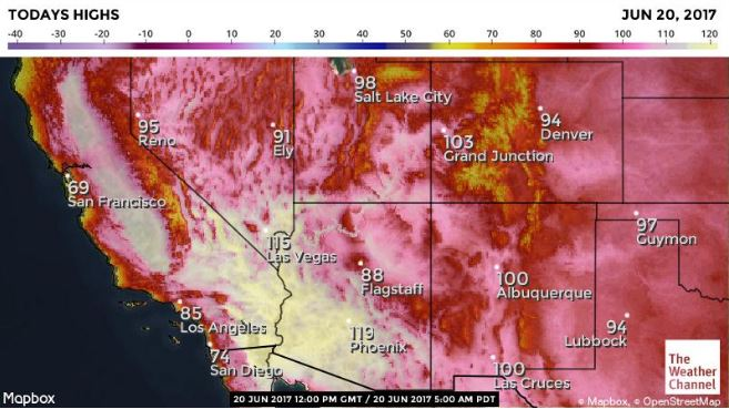 Heat chart from weather.com showing map of West Coast of America and heat temperatures forecast to hit with red and orange colours