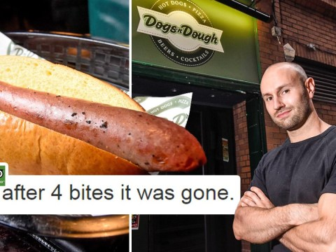 Restaurant owner challenges anyone to eat his sausage in four bites