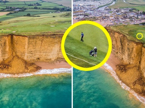 Golfers continue to play despite cliff collapsing on Dorset course