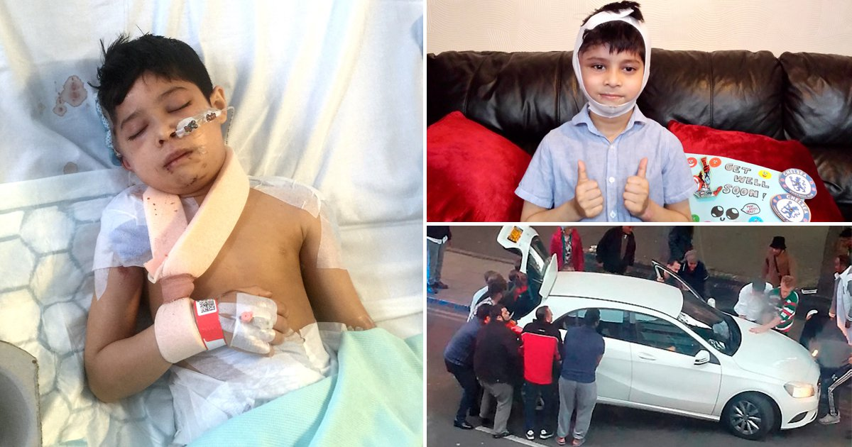 Boy saved from under car by strangers who lifted it off him