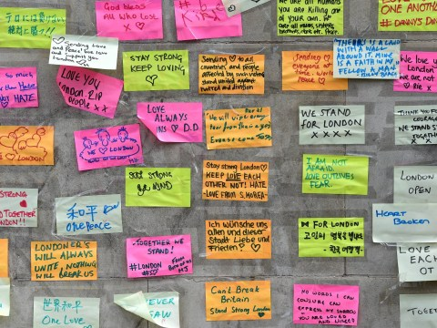 People are leaving messages of hope and love on post-it notes for London Bridge victims