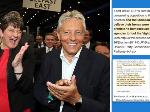 DUP Wikipedia page locked to stop people pointing out the party doesn't believe in dinosaurs