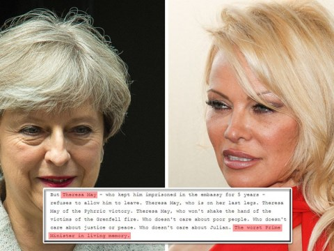 Pamela Anderson calls Theresa May 'the worst prime minister in history'