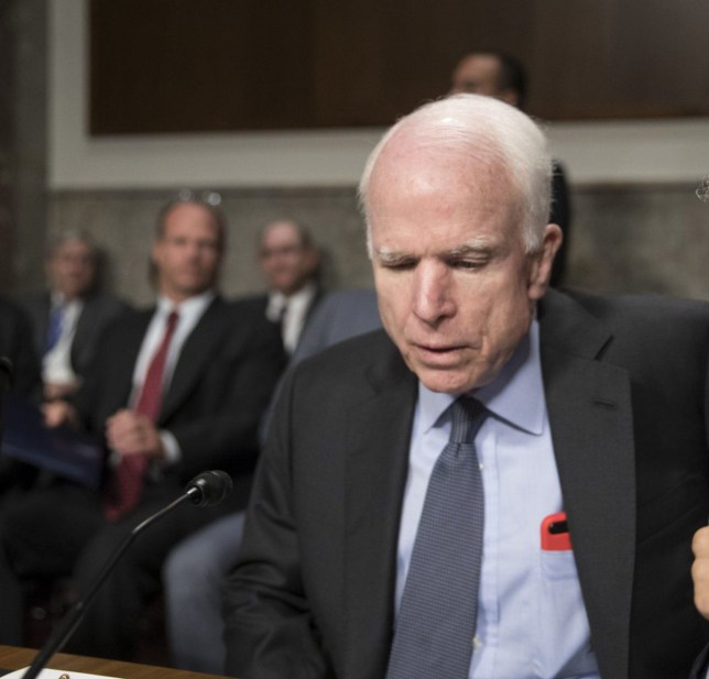 Senate Armed Services Committee Chairman John McCain, R-Ariz., left, confers with Sen. Jack Reed, D-R.I., the ranking member, at the start of a hearing at the Capitol in Washington, Tuesday, June 20, 2017. McCain said Tuesday, North Korea ???murdered??? Otto Warmbier, the 22-year-old American college student who died just days after North Korea released him from detention in a coma. He had arrived in Ohio on June 13 after being held for more than 17 months. (AP Photo/J. Scott Applewhite)