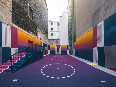 A basketball court in Paris has been given the most amazingly vibrant makeover