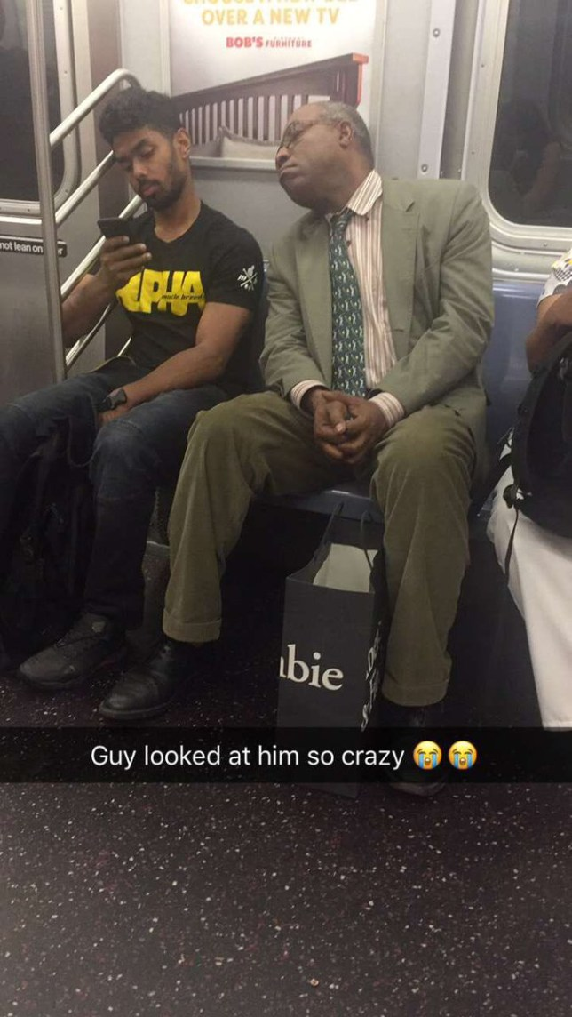 tweet talking about nosey man on subway looking at people's phones