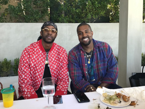 Kanye West is looking really happy these days among all the Tidal drama with Jay-Z
