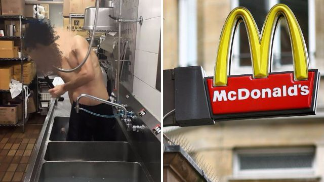 McDonald's worker caught having a shower in restaurant sink