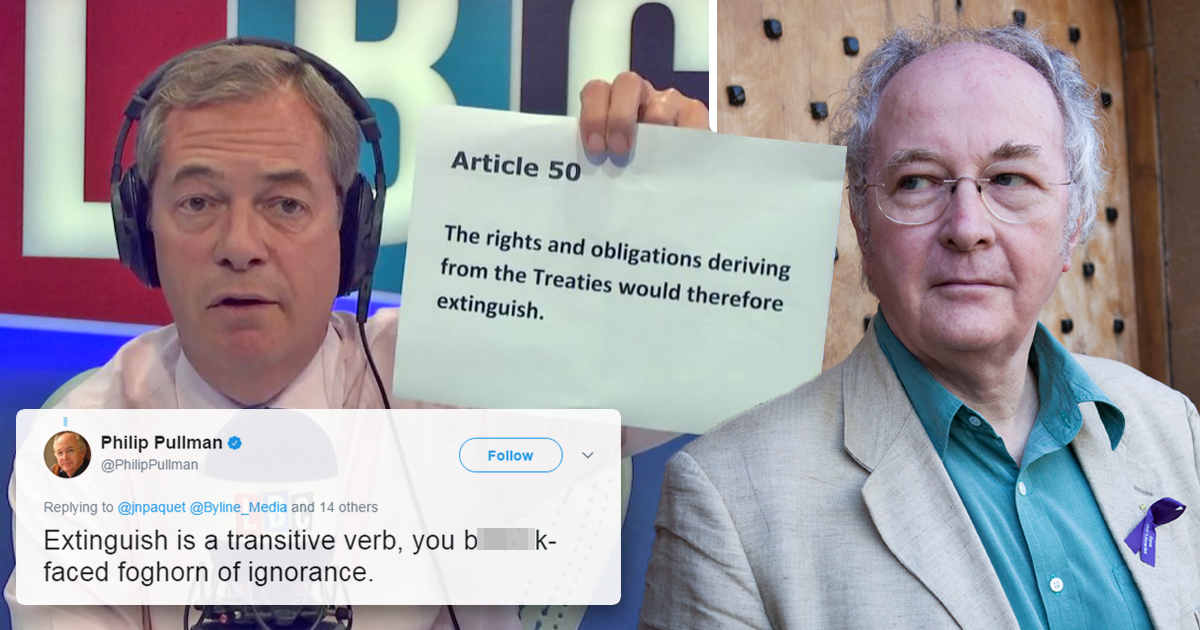 Farage called a 'b*llock-faced foghorn of ignorance' by author Philip Pullman