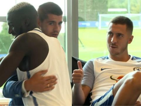 Eden Hazard and Tiemoue Bakayoko welcome Alvaro Morata at Chelsea's training ground