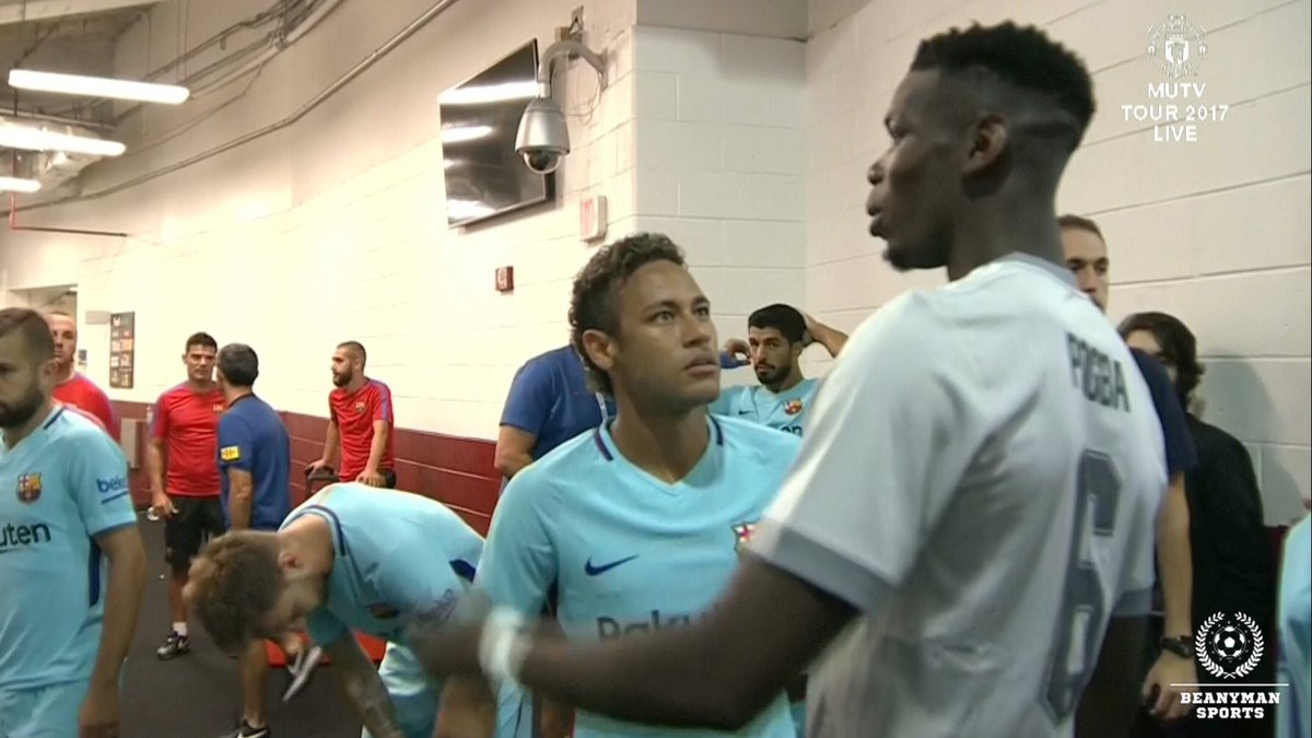 Talking transfer records? Neymar embraces Paul Pogba after agreeing massive five-year PSG deal