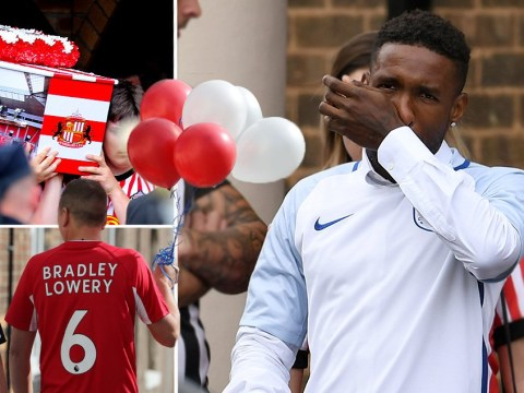 Jermain Defoe breaks down in tears at Bradley Lowery's funeral