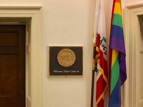Politician sued for flying rainbow LGBT Pride flag outside her office