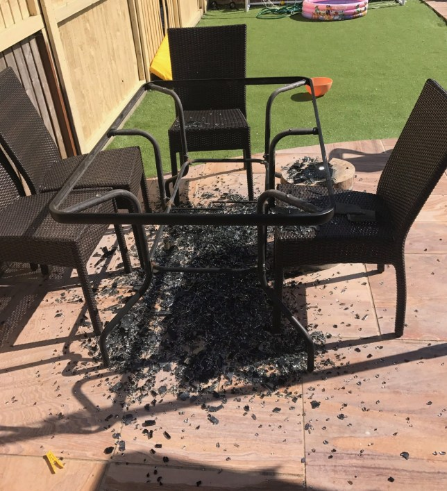 Asda Glass Table Explodes Covering Familys Garden Covered
