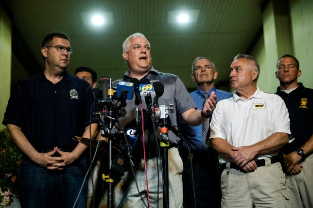 Matthew Weintraub, District Attorney for Bucks County, Pa., speaks with members of the media in New Hope, Pa., Thursday, July 13, 2017. Weintraub said they've found human remains in their search for four missing young Pennsylvania men and they can now identify one victim. (AP Photo/Matt Rourke)