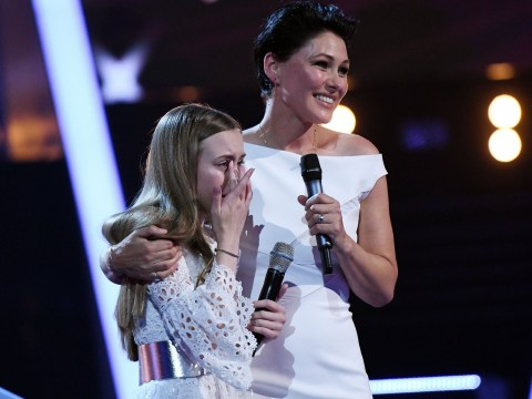 Erin L comforted by Emma Willis as she bursts into tears after stunning The Voice Kids final performance