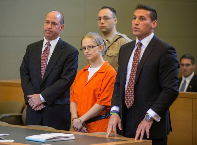 FILE - In this May 29, 2015 file photo, Angelika Graswald, center, stands in court with her attorneys Jeffrey Chartier, left, and Richard Portale at her arraignment in Goshen, N.Y. Graswald, accused of removing a drain plug from her fiance Vincent Viafore's kayak and contributing to his drowning on New York's Hudson river, pleaded guilty on Monday, July 24, 2017 to to criminally negligent homicide. (Allyse Pulliam/Times Herald-Record via AP, Pool, File)