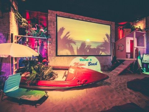 An indoor Miami Beach themed cinema has opened in London